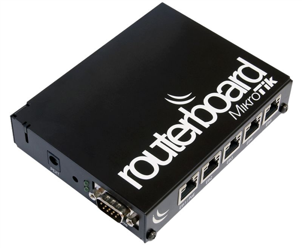 Black aluminium indoor case with with installation set for MikroTik RB450, RB450G and RB850Gx2