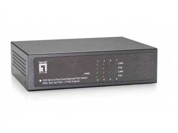 8-Port 10/100Mbps PoE Switch, 4 802.3at/af PoE Ports, 61.6W total PoE