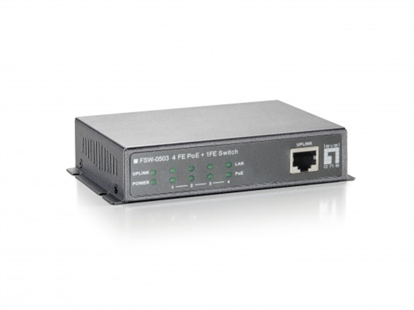 10/100 Mbps 5-Port Ethernet Switch with 4 PoE Injector Ports, One non-PoE Uplink Port