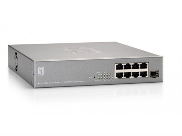 9-Port Gigabit Ethernet PoE+ Smart Switch, incl 1 x SFP, 61.6W