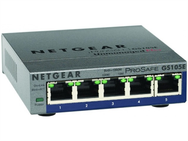 ProSafe Plus 5-Port Gigabit Ethernet Switch, Desktop Sized, Metal Case