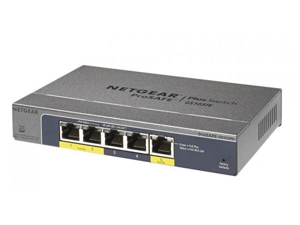 ProSafe Plus 5-port Gigabit Switch, 2 PoE Ports, and powered via PoE