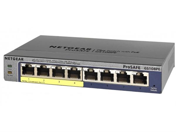 ProSAFE Plus 8-Port Gigabit Ethernet Switch, Desktop, 4 PoE Ports