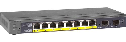 ProSafe 8-port Gigabit Ethernet PoE Smart Switch, 2 Gigabit SFP Ports, 46W Total PoE Budget