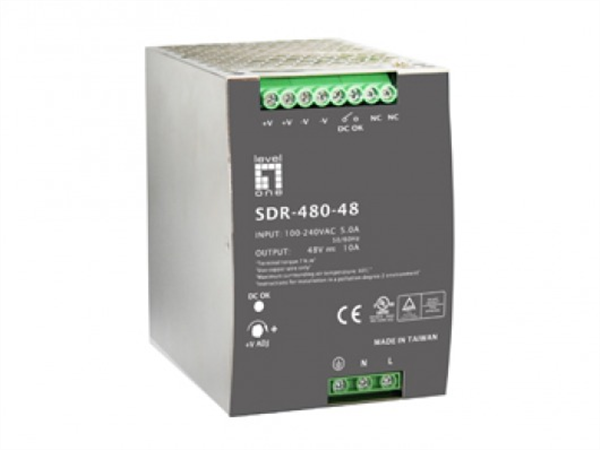 Industrial Power Supply, 48VDC, 480W, DIN-Rail, PoE Ready