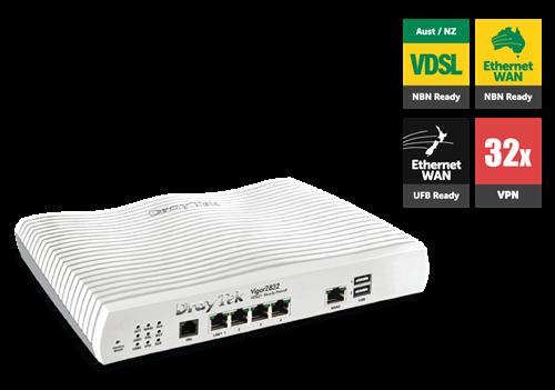 ADSL/UFB Router, Firewall, VPN Router, 4 GigE LAN Ports