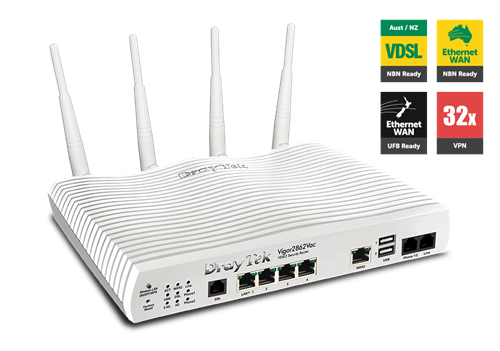 ADSL/VDSL/UFB Router, USB, 4xGigE LAN, VPN, QoS, VLAN, 802.11ac, VoIP