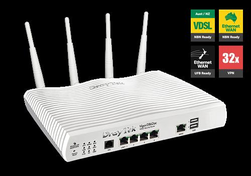 ADSL/VDSL/UFB Router, USB, 4xGigE LAN, VPN, QoS, VLAN, 802.11ac WiFi