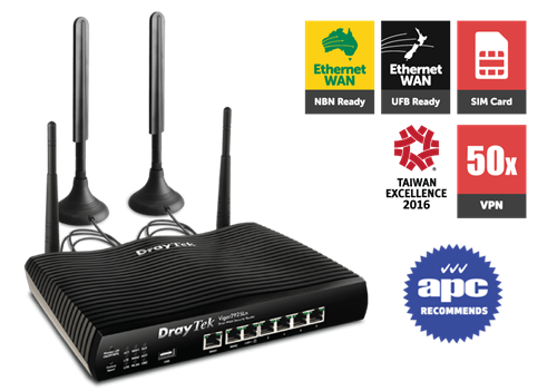 Dual-GigE WAN Router/Firewall, with LTE SIM card slot, 802.11n WLAN